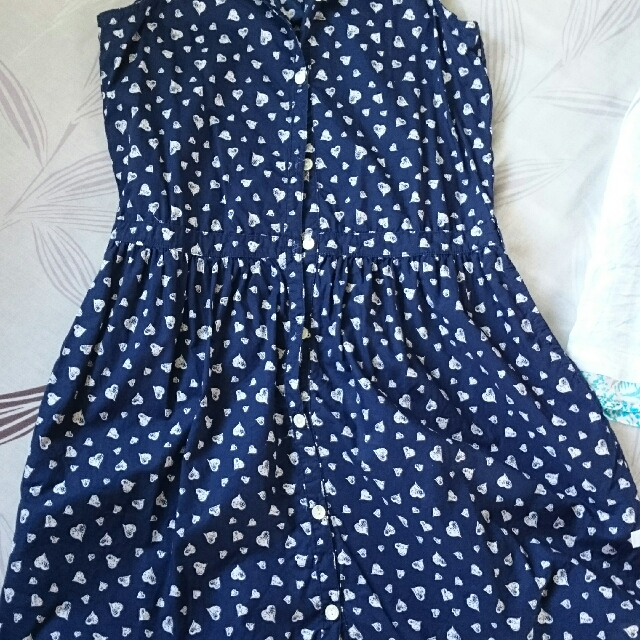 Moose girl navy blue dress