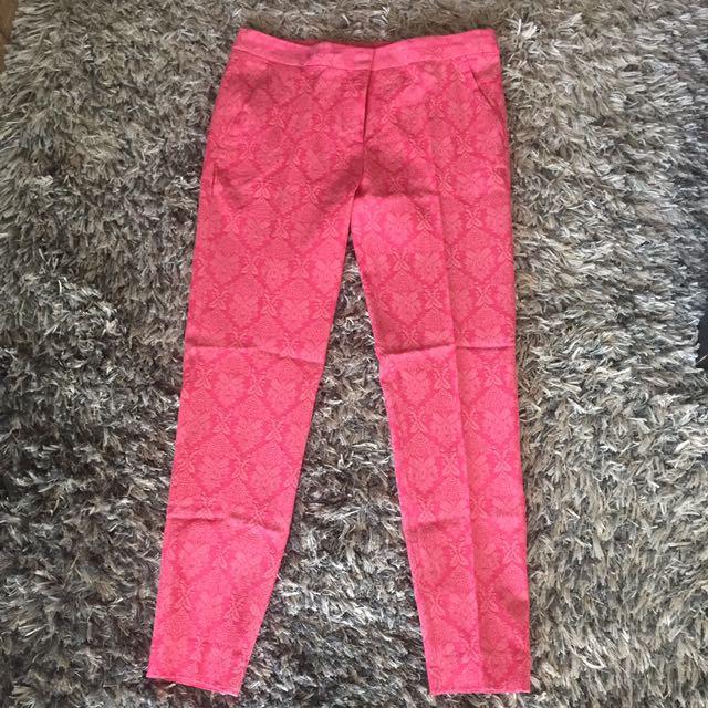 Pink floral pattern pants