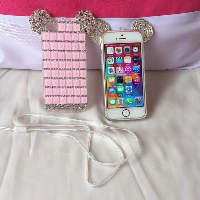 Pink mickey mouse glitter case