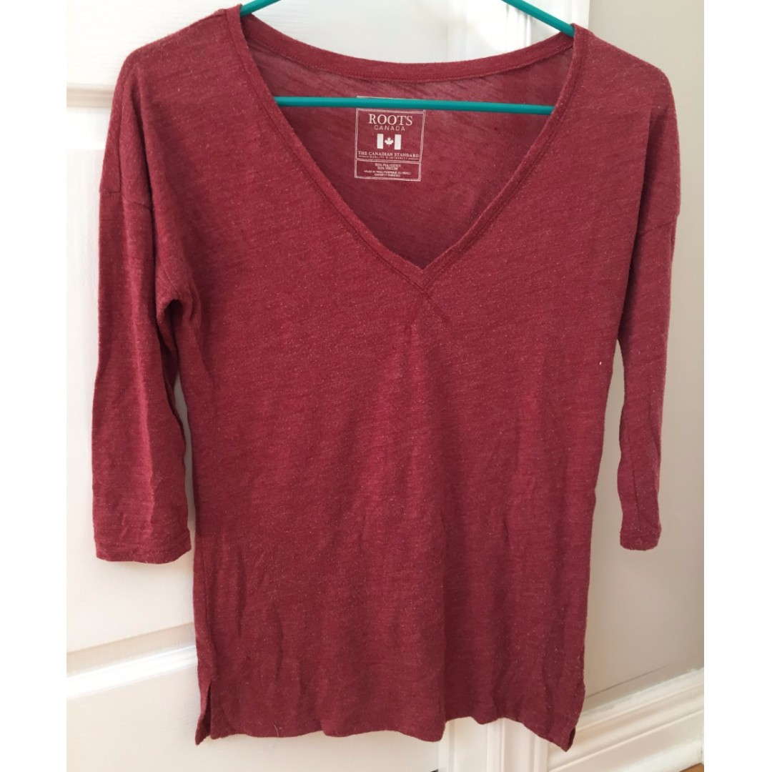 Red quarter sleeve shirt (size XS) from Roots