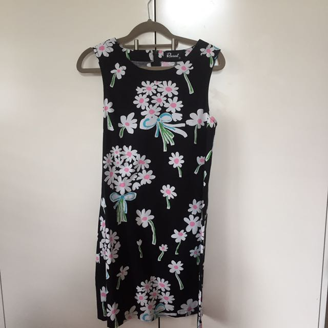 REVIVAL black daisy print dress