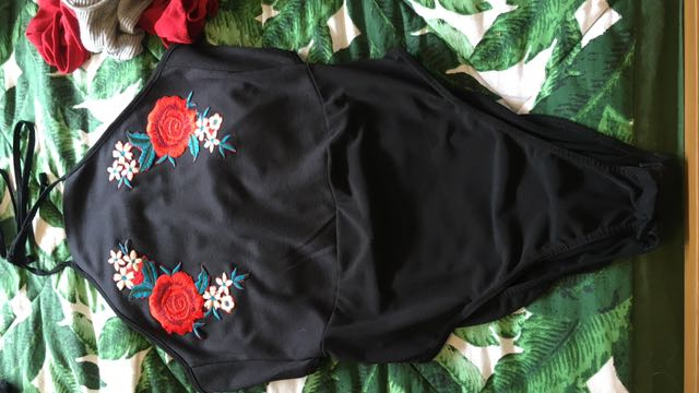 Rose embroided bodysuit