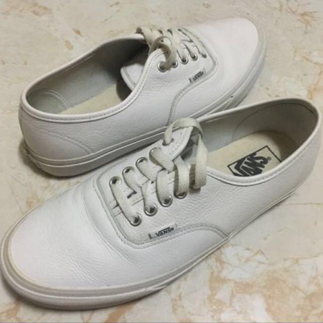 ✓️SALE!!! Mens Vans Authentic Leather WHITE MONO 64ddffbcf4