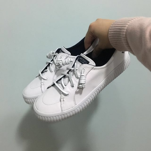 3a3bb0ade62 Sperry Crest Vibe Creeper Leather White Sneakers
