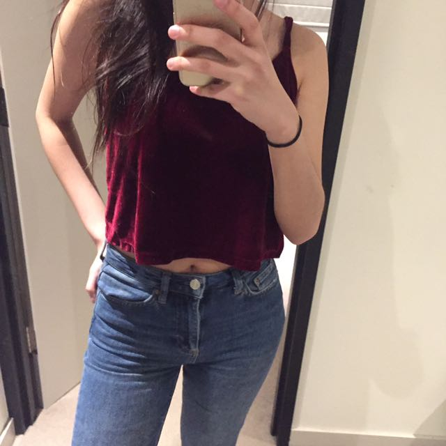 Velvet Red Crop Top
