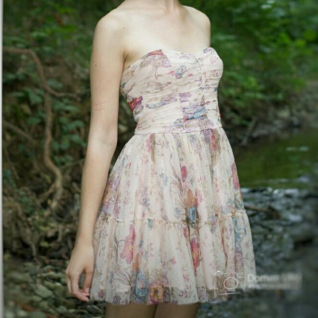 Zara Trf Tulle Strapless Dress, Women's Fashion,