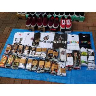 Skateboarding deck, shoes, tee and socks
