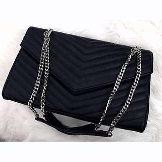 Black Chevron Chain Strap Flap bag