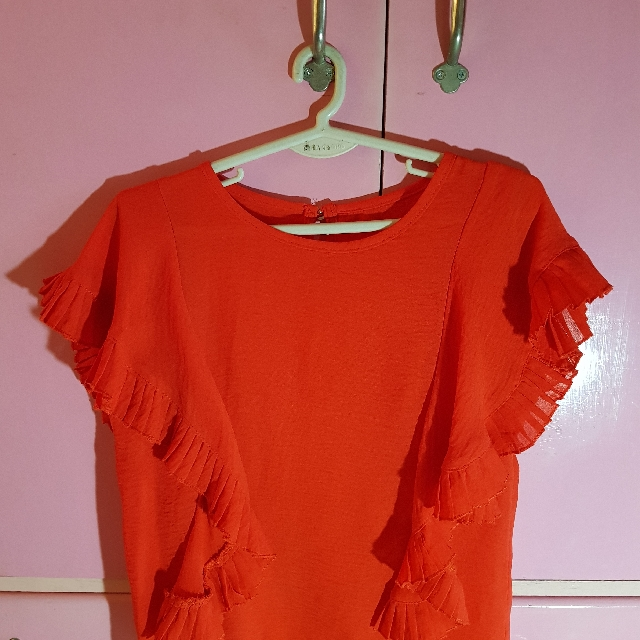 b857ae11d9512a 01 Red Orange Blouse, Women's Fashion, Clothes, Tops on Carousell