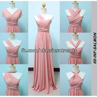 FREE SHIPPING! Bridesmaid Infinity Dress in Salmon