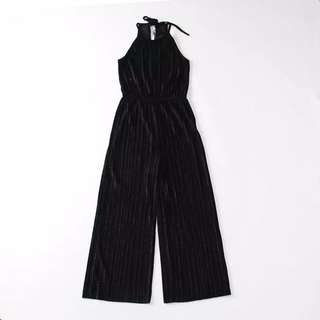 OshareGirl 09 歐美金屬絲絨純色露背綁帶連身長褲削肩綁帶連身長褲