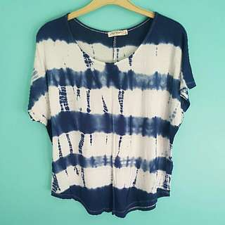 Blue/White Loose Top