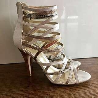 White Aldo Strappy Snakeskin Heels