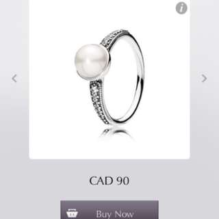 PANDORA Elegant Beauty White Pearl Ring