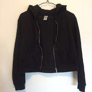 Cropped black zip up hoodie