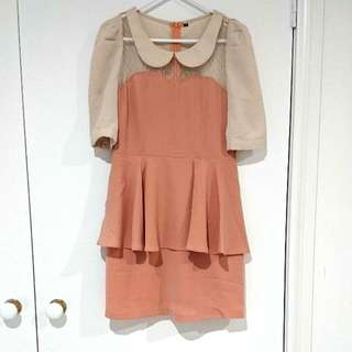 Beige And Dusty Pink Short Dress