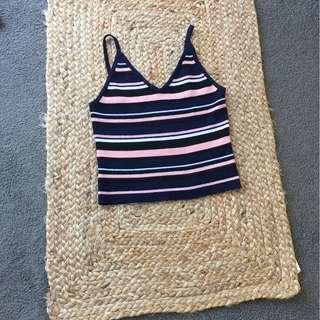 Stripe knitted crop