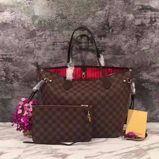 LV Neverfull Damier Ebene Canvas- MM with Wristlet >>> PLEASE READ Profile Bio and Product details carefully