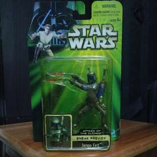 """Star Wars Attack Of The Clones Sneak Preview Jango Fett 3.75"""" 3 3/4"""" Action Figure MOC"""