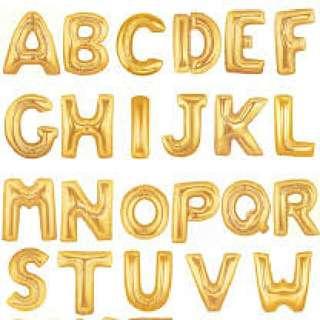金色字母鋁箔氣球 E, O, P, H 細