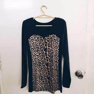 Bodycon Black Dress with Animal Print