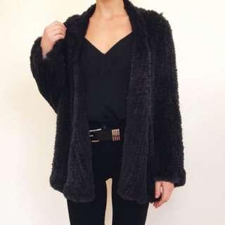 Fox Maiden Black Rabbit Fur Jacket