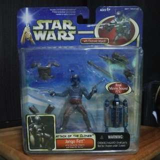 """Star Wars Attack Of The Clones Deluxe Jango Fett 3.75"""" 3 3/4"""" Action Figure MOC"""
