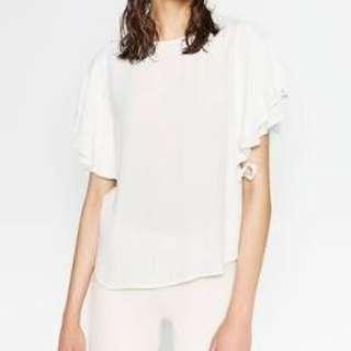 White ruffle blouse Zara XS