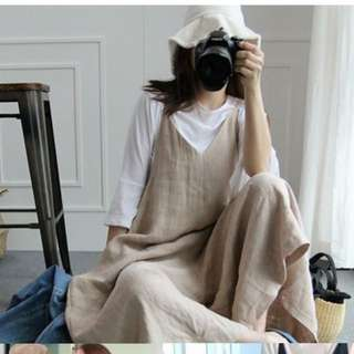 日系棉麻吊帶連身褲
