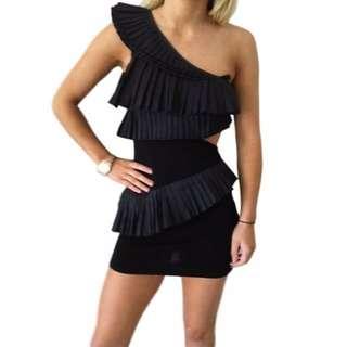 SASS AND BIDE BLACK ACCORDIAN FRILL ONE SHOULDER DRESS