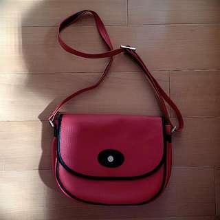 vintage紅色肩背包