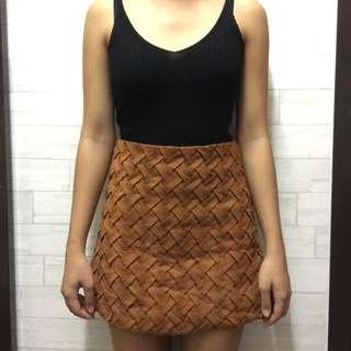 Brown Suede Velvet Skirt