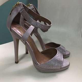 LYN rhinestone and silk pink heels