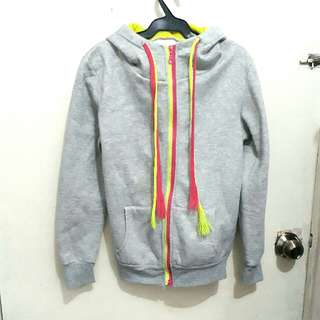 Gray Hoodie Jacket with Neon Pink and Green details