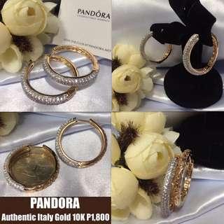 Authentic Pandora Italy Gold 10K Hoop Loop Earrings