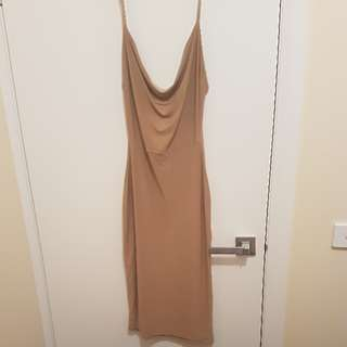 Cowl front bodycon dress