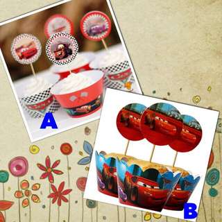 🚘 Disney Cars party supplies - cupcake toppers & wrappers / dessert cake Deco / party Deco
