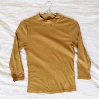Mustard High Neck Shirt | Valley Girl