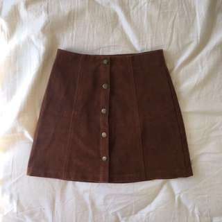 Faux Suede Button Down Skirt | SUBTITLED | 6