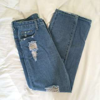 Distressed/Ripped Mum Jeans