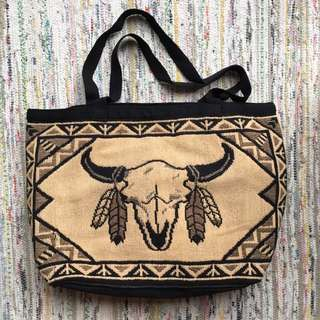 Cow Skull Woven Mexican Bag
