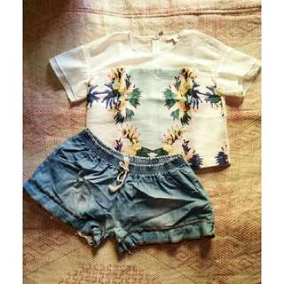 Floral Crop Top And Casual Shorts