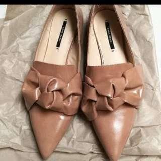 Zara big bow flats size 39
