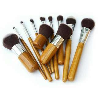 11 Pieces Bamboo Handle Makeup Brush With Pouch Bag