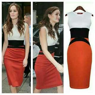 Color Combined Plus Size Dress