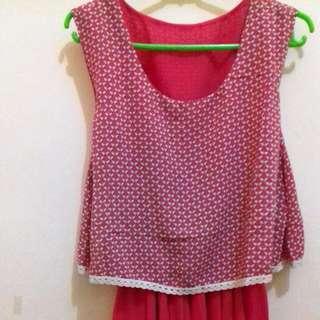 Dress Midi Pink Chiffon