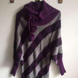 Purple Grey Striped Knit