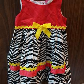 Unique zebra print dress 18-24 mos