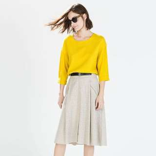 Zara Perforated Midi Skirt With Belt