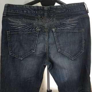 BIG TRAIN (男)刺繡刷色牛仔褲